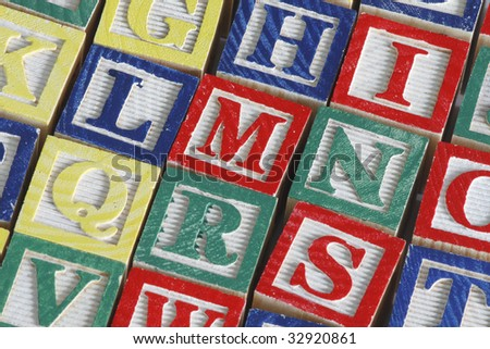 Set of alphabet blocks in detail. Close-up