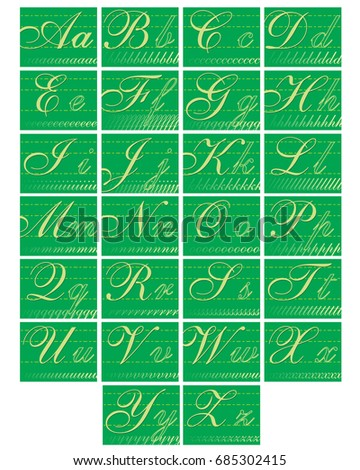 set of alphabet cards in school classroom style