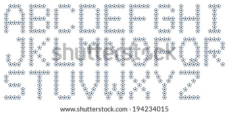 Set of alphabets, football design isolated. - stock photo