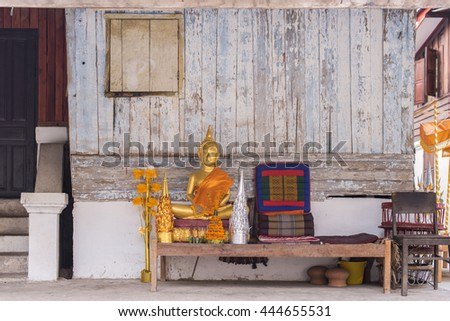 set of altar table with buddha statue. (leave space for adding your content.) - stock photo