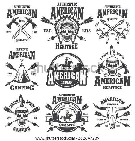 Set of american indian emblems, labels, badges, logos and designed elements. Wild West theme. Monochrome style - stock photo