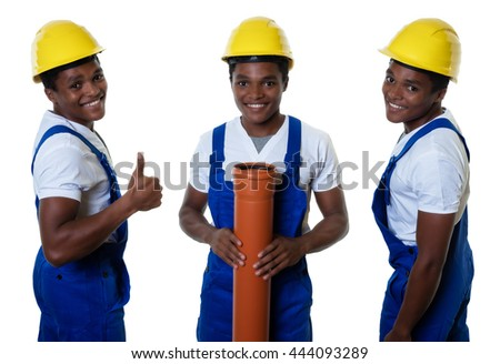 Set of an laughing african american construction worker