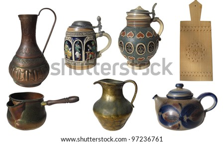 Set of 7 ancient kitchen objects isolated on white background with clipping path - stock photo
