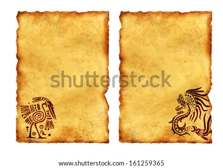 Set of ancient parchments with American Indian national patterns. Isolated on white background - stock photo