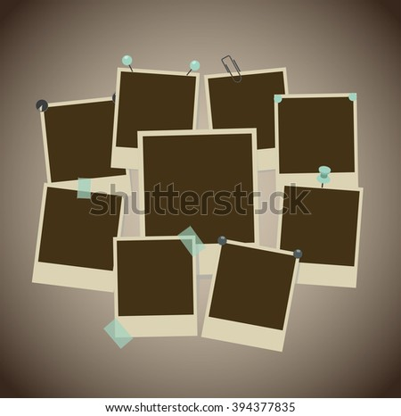 Set of ancient photo frames with pins, pushpins, adhesive tape, clips. Raster version - stock photo