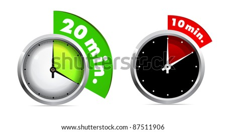 Set of 10 and 20 minutes timer - stock photo