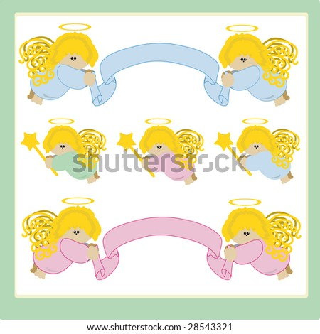 Set of angels with ribbons.