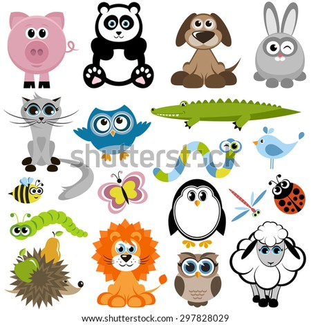 Set of animals. Raster version - stock photo