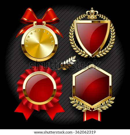 Set of anniversary labels and classic gold tags for sale. Contain the Clipping Path - stock photo
