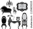 Set of antique furniture - isolated black silhouettes. Raster version - stock photo