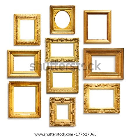 Set of antique golden frames on white background - stock photo