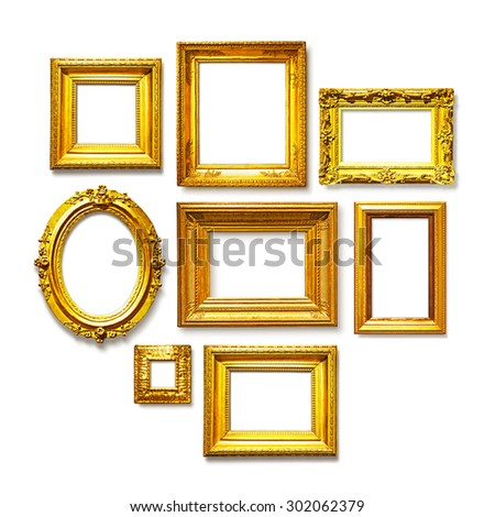 Set of antique golden frames on white background. Art gallery - stock photo