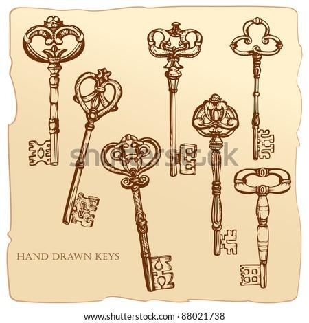 Set of Antique Keys. Raster version. - stock photo