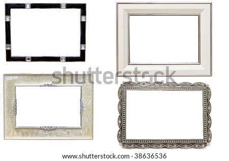 set of antique metal picture and photo frames with space for text - stock photo