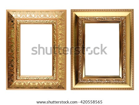 Set of antique photo frame isolated on white background. with clipping path.