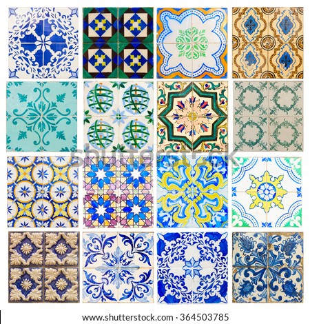 set of antique traditional historical tiles asulejos of  Portugal - stock photo