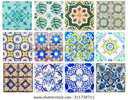 set of antique traditional tiles asulejos of  Portugal - stock photo
