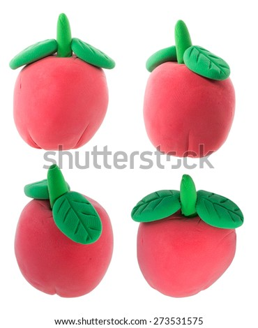 Set of apple with leaf made from plasticine - stock photo