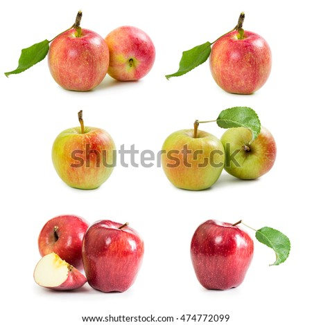 Set of apples isolated on white background.