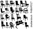 Set of Armchairs Silhouettes. Raster version. - stock photo