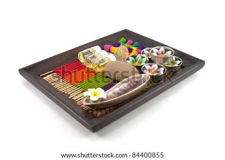 Set of aroma in spa for relax - stock photo