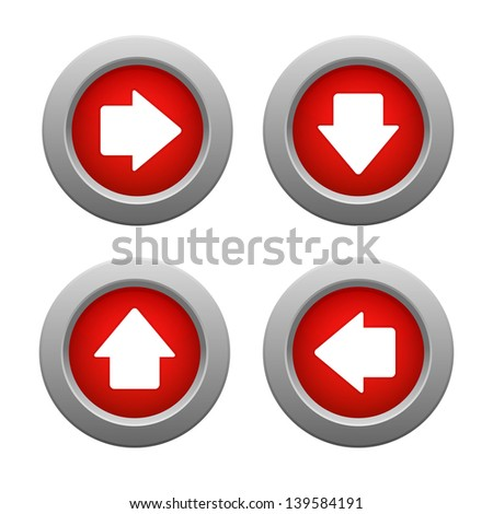 Set of arrow buttons, raster illustration