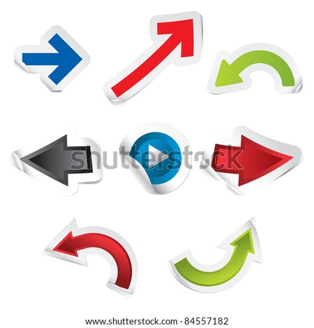 Set Of Arrow Shaped Stickers Isolated Over White. (in the gallery also available vector version of this image) - stock photo