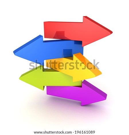 set of arrows in different directions. right choice concept 3d render illustration - stock photo