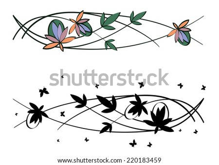 set of art nouveau abstract floral patterns - stock photo