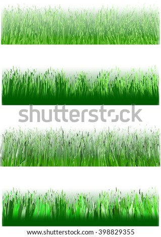 Set of artificial generated grass blocks
