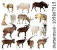 Set of Artiodactyla animals. Isolated over white background (Camel, Markhor, Takin, Gnu, Tur, Deer, Giraffe, Goat) - stock photo