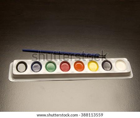 Set of artist colors/Watercolors/Full spectrum set of paints - stock photo