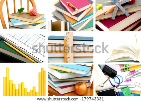 Set of 9 Assignment school books background - stock photo
