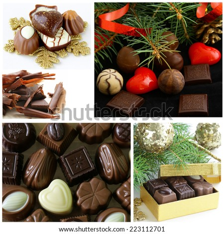 Set of assorted chocolate candy gift for Christmas - stock photo