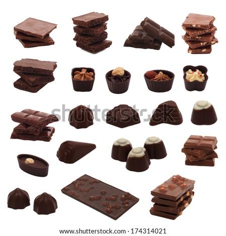 Set of assorted chocolates - stock photo