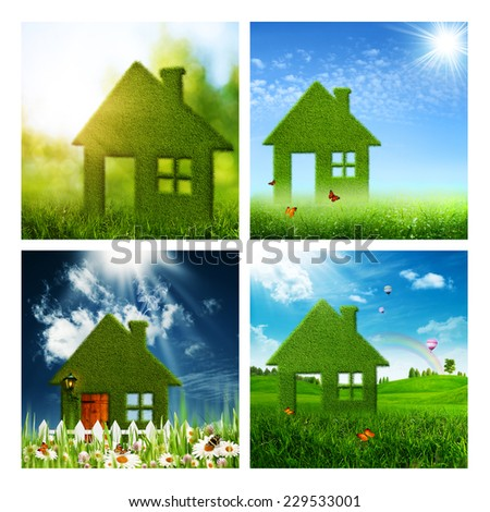 Set of assorted eco and environmental backgrounds for your design - stock photo
