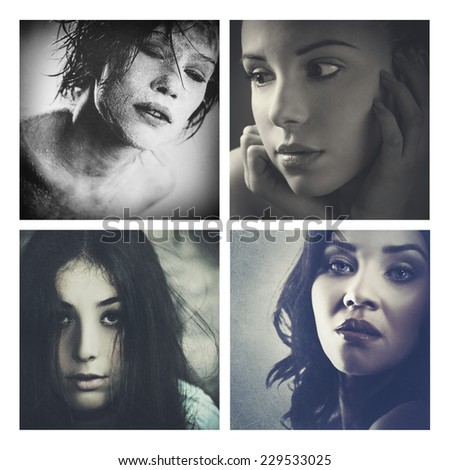 Set of assorted grungy female portraits for your design - stock photo