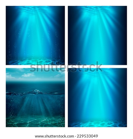 Set of assorted marine backgrounds for your design - stock photo