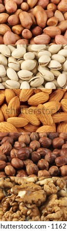 Set of assorted nuts as backgrounds. - stock photo