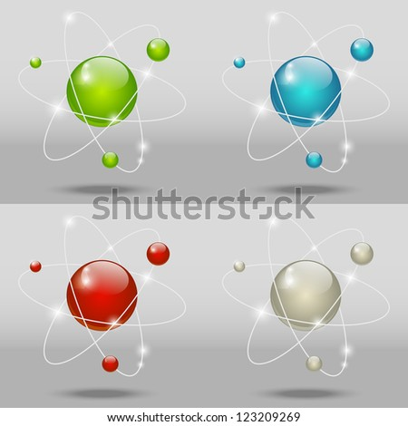 Set of atomic icons - stock photo