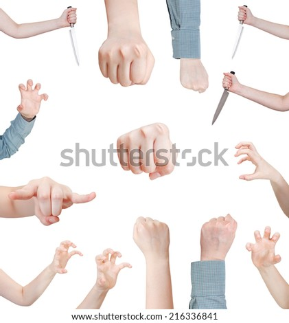 set of attacking female hand gesture isolated on white background - stock photo