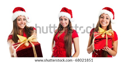 set of attractive young women in santa claus hat photos - stock photo