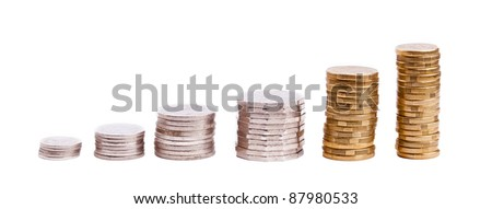Set of Australian coin currency in stacks, including 5, 10, 20 and 50 cent coins, plus 1 and two dollars, isolated on white - stock photo