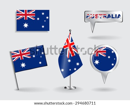 Set of Australian pin, icon and map pointer flags. Raster version - stock photo