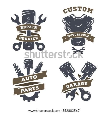 Set auto logos garage service spare stock illustration for Auto p garage roussillon