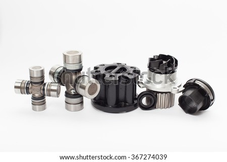 Set of auto parts isolated on white background