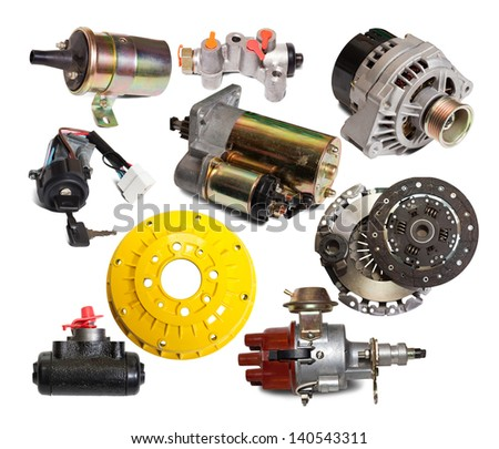 Set of auto parts. Isolated on white background with shade - stock photo