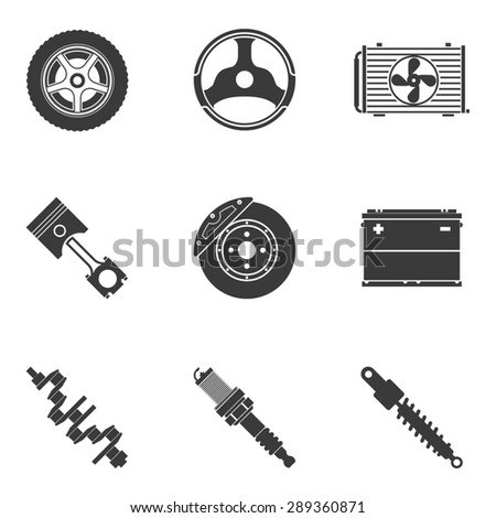 Set of auto spare parts. Gear and spark plug, wheel and radiator, accumulator and transmission - stock photo
