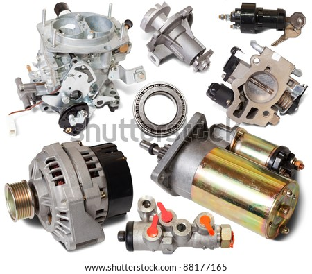 Set of auto spare parts. Isolated on white background - stock photo