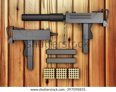 Set of Automatic 9mm Machine Guns with Accessories on wooden background. Military Weapons Concept. 3D Rendering - stock photo